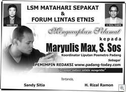 MAX PIMRED PADANG LSM MATAHARI SPKT - LINTAS ETNIS